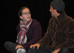 Angela Simpson and Jonas Werner in rehearsal for Almost, Maine
