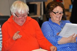 Jeff Newick (Tom) and Barb Finn (Dora) in rehearsal for Love & Lobsters
